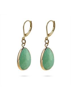High fashion Oorbellen, turquoise druppel aan goudkleurige haak