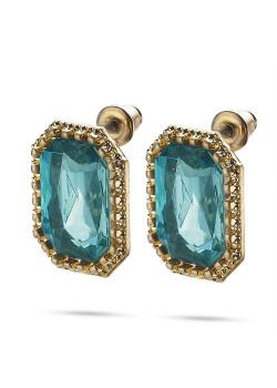 High fashion Oorbellen, goudkleurige rechthoek, turquoise
