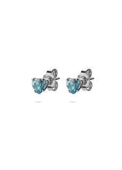 Collection K3, boucles d'oreilles, petit coeur, pierre bleue