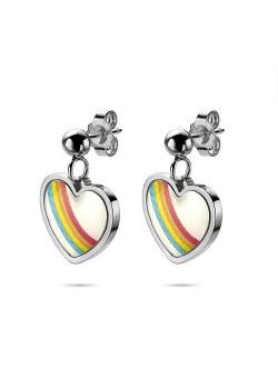 K3 collectie, oorbellen, hangend regenboog hartje
