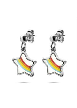 K3 collectie, oorbellen, hangend regenboog sterretje