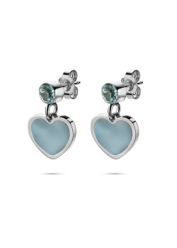 K3 collectie, oorbellen, blauw hartje en steentje