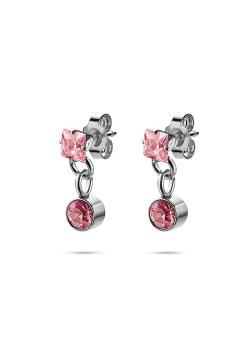 K3 collectie, oorbellen, vierkant en rond steentje, roos