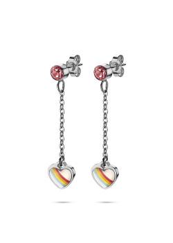 K3 collectie, oorbellen, regenboog hartje op ketting, roos steentje