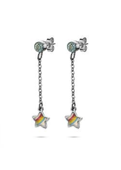 K3 collectie, oorbellen, regenboog sterretje op ketting, blauw steentje