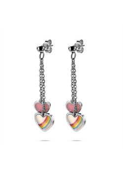 K3 collection, earrings, 2 hearts on chain