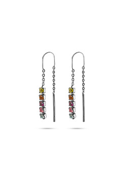 K3 collectie, oorbellen, 5 gekleurde steentjes aan ketting