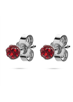 Silver earrings, ball 4 mm, red crystals