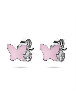 Oorbellen in zilver, vlinder 7 mm, roze email