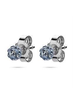 Oorbellen in zilver, balletje 4 mm, lichtblauwe kristallen