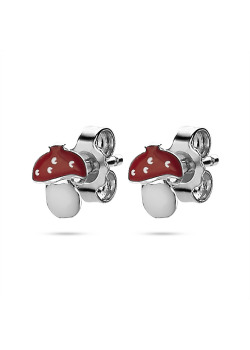 Boucles d'oreilles en argent,  paddestoeltje, rood en wit email