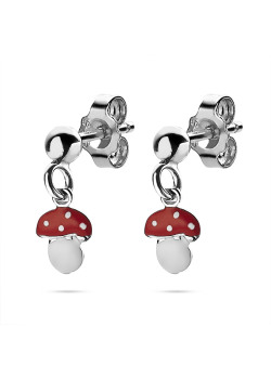 Silver earrings, hanging mushroom, red and white enamel