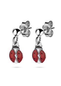 Silver earrings, hanging ladybugs, red enamel