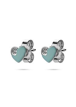 Boucles d'oreilles en argent, coeur émail turquoise, 1 zircone