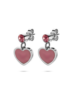 K3 collection, earrings, pink heart and stone