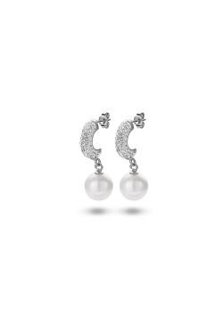 Oorbellen in zilver, parel en witte kristallen