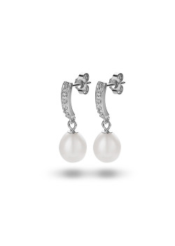 Silver earrings, zirconia and a hanging pearl