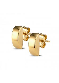 Oorbellen in 18kt plaqué goud, halve ronde