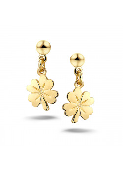 18ct gold plated earrings, clover