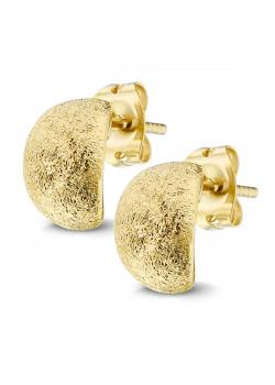 Oorbellen in 18kt  plaqué goud, gehamerde afwerking