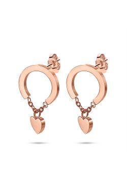 Boucles d'oreilles en acier poli rosé, créole avec coeur sur chaîne