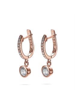 Oorbellen in rosé zilver, ovale oorring met zirconia steentjes