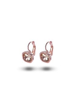 high fashion oorbellen, perzik strass, 11 mm, rosé