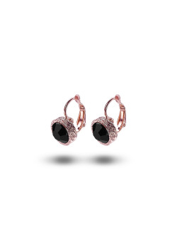 high fashion oorbellen, zwarte strass, 10 mm, rosé