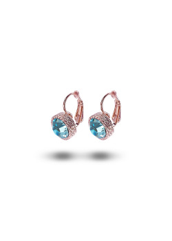 high fashion oorbellen, lichtblauwe strass, 10 mm, rosé