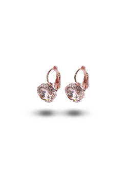 high fashion oorbellen, roze strass, 10 mm, rosé