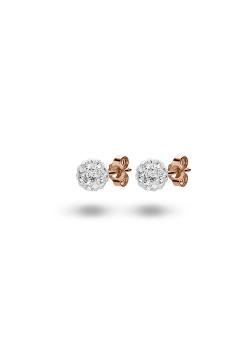 Boucles d'oreilles en argent rosé,  boule de 6mm incrustée de cristaux