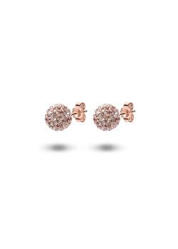 Oorbellen in rosé zilver, bol van 8 mm met perzik kristallen