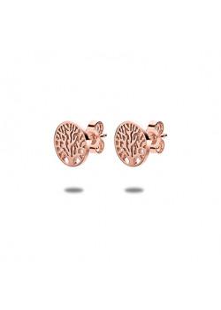 rosé stainless steel earrings, tree of life