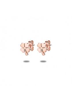 oorbellen in rosé edelstaal, klaver