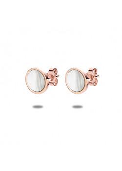 oorbellen in rosé edelstaal, ronde parelmoer