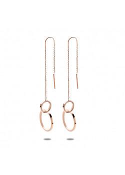 oorbellen in rosé edelstaal, 2 cirkels