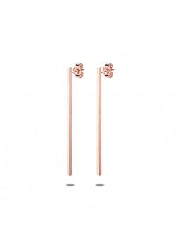oorbellen in rosé edelstaal, staaf