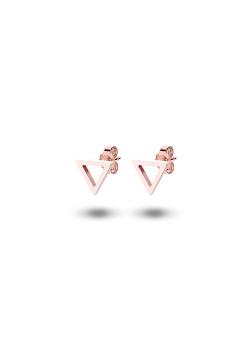 oorbellen in rosé edelstaal, open driehoekje