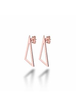 oorbellen in rosé edelstaal, open driehoek