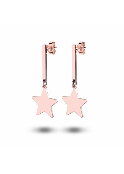 rosé stainless steel earrings, star and small bar