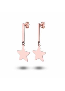 oorbellen in rosé edelstaal, ster en staafje