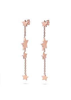 Oorbellen in rosé edelstaal, 4 stars