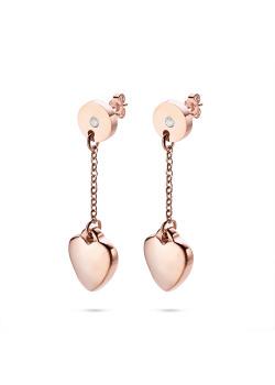 Oorbellen in rosé edelstaal, rondje met kristal, hangend hartje
