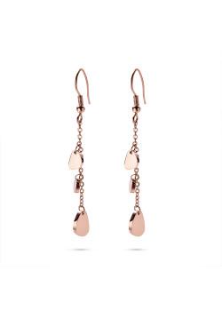 Boucles d'oreilles en acier poli rosé, 3 triangles arrondis sur une chaine forcat