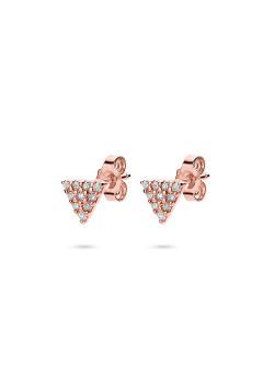 oorbellen in rosé zilver, driehoekje, zirkonia