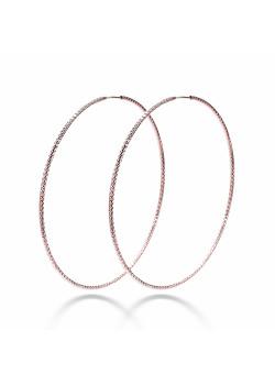 Creolen in rosé zilver, 55 mm, gebeiteld