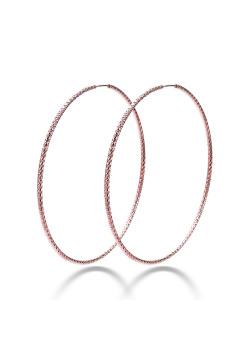 Creolen in rosé zilver, 65 mm, gebeiteld