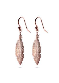 oorbellen in rosé zilver, veer van 30 mm