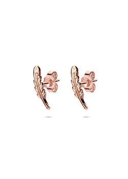 oorbellen in rosé zilver, veertje
