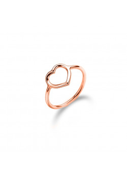 rosé silver ring, open heart